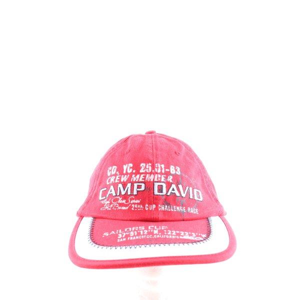 Camp David Schirmmütze pink-weiß Schriftzug gedruckt Casual-Look