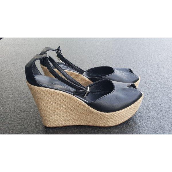 Platform High-Heeled Sandal black-beige leather
