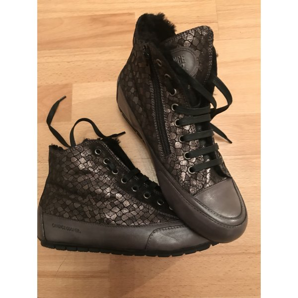 Candice Cooper Sneakers Lammfell Gr. 38 Schwarz/Grau/Braun Metallic Neu NP 249€