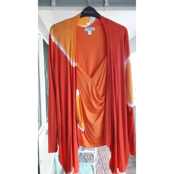 Cardigan/Weste orange/rot/weiss Gr.40