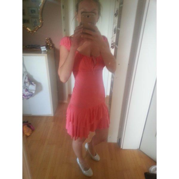 Carmenkleid Lachs Stufenkleid Gr. S-M