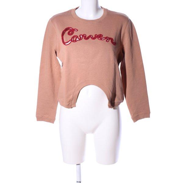 Carven Sweatshirt nude-rot Schriftzug gedruckt Casual-Look