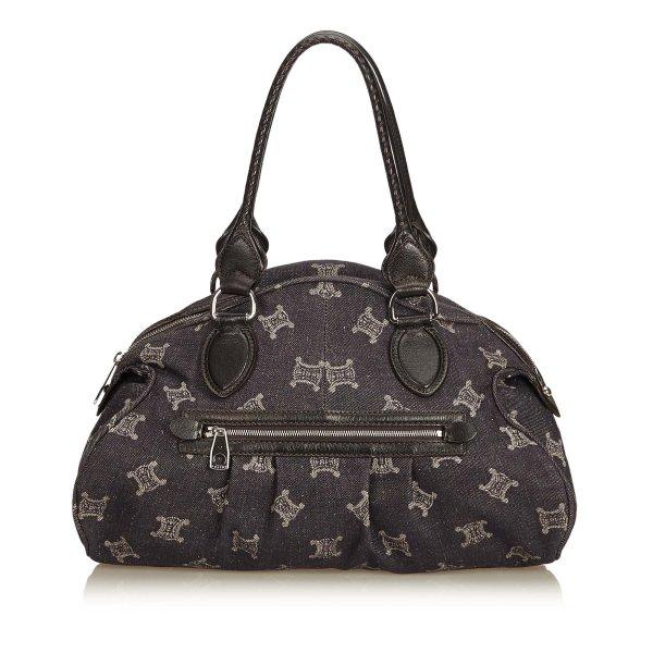 Celine Jacquard Macadam Shoulder Bag