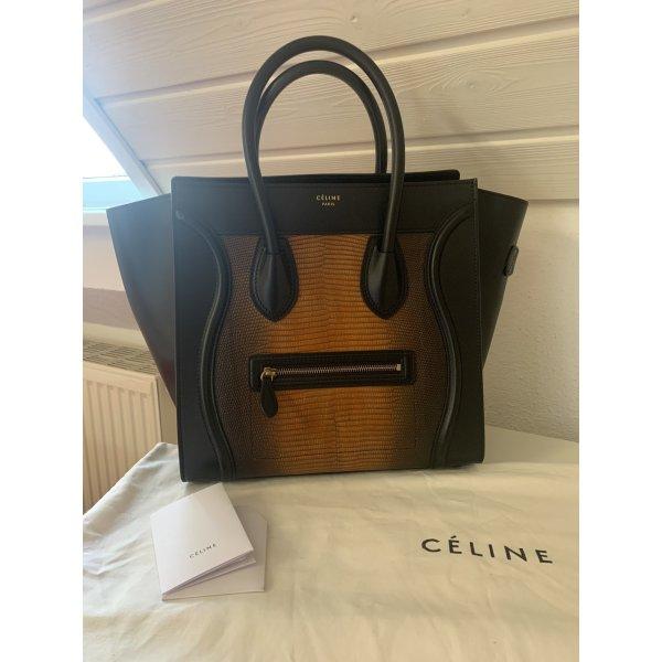 Celine luggage in schwarz mit Krokoleder