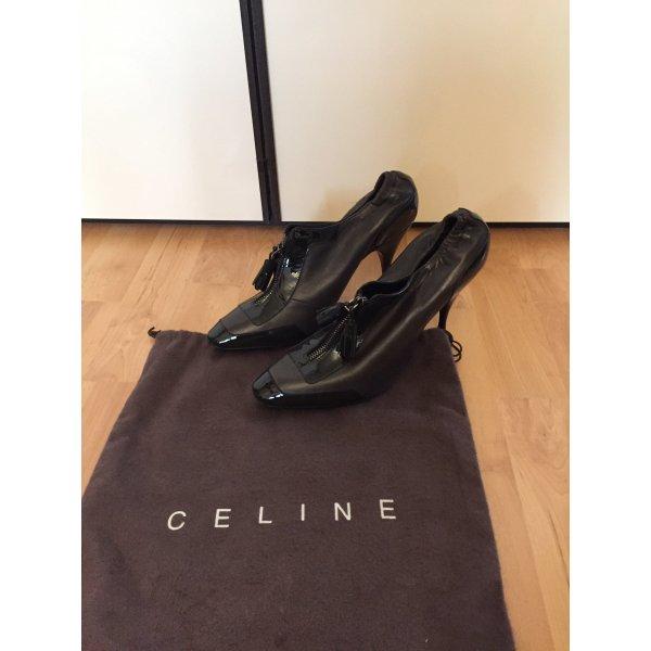 Celine Pumps Leder olivgrün