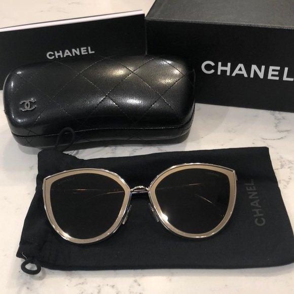Chanel Brille silberfarben-schwarzbraun Street-Fashion-Look 4222 C124/S5