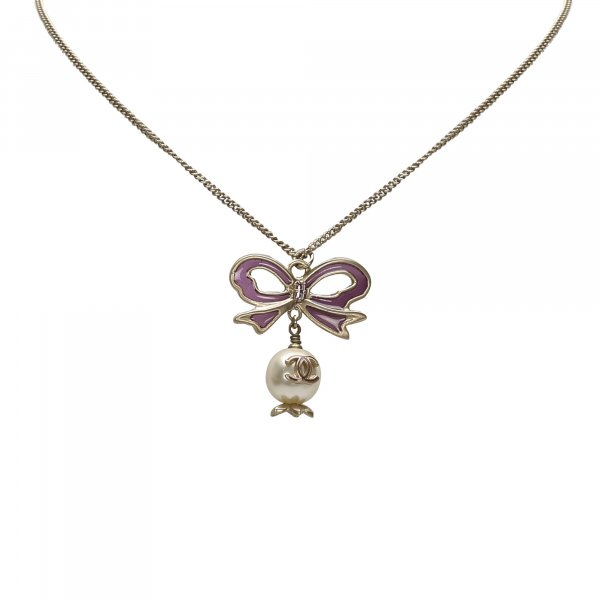 Chanel CC Ribbon Rhinestone Necklace