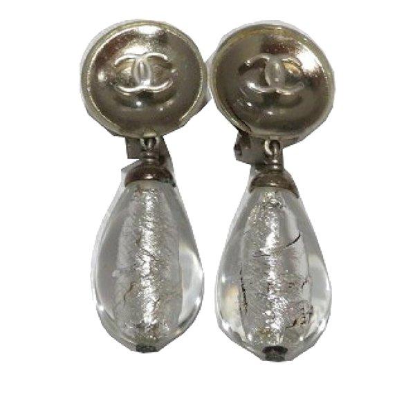 Chanel CC Teardrop Clip On Earrings