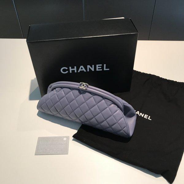 Chanel Borsa clutch viola-viola-grigio Pelle
