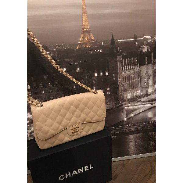 Chanel Jumbo Classic Double Flap Caviar in Beige/ Gold