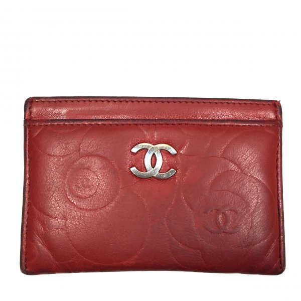 Chanel Kaartetui rood Leer