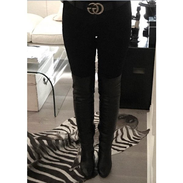 CHANEL Overknee Stiefel Schwarz 39 Leder High Heels Boots Black CC Logo Gold
