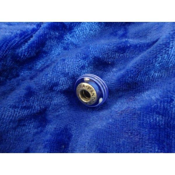 Charm von PANDORA - Muranoglas (blau mit Streifen)