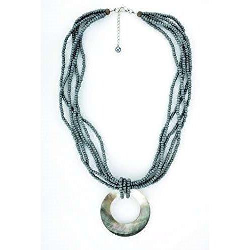 Chiemsee Damen Necklace Halskette Holz mit Muschel Anhänger