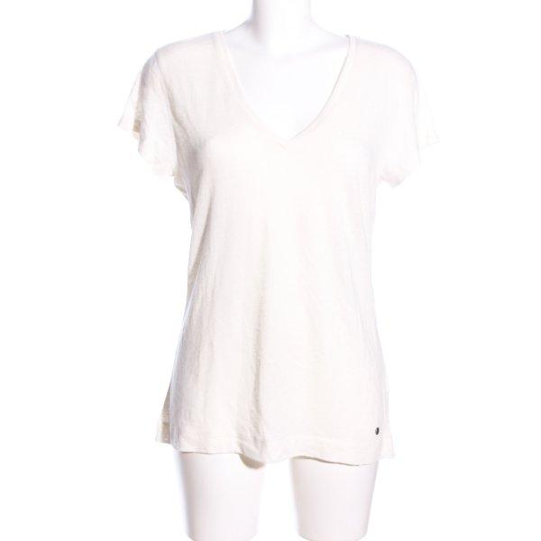 Chiemsee V-Ausschnitt-Shirt wollweiß Schriftzug gedruckt Casual-Look