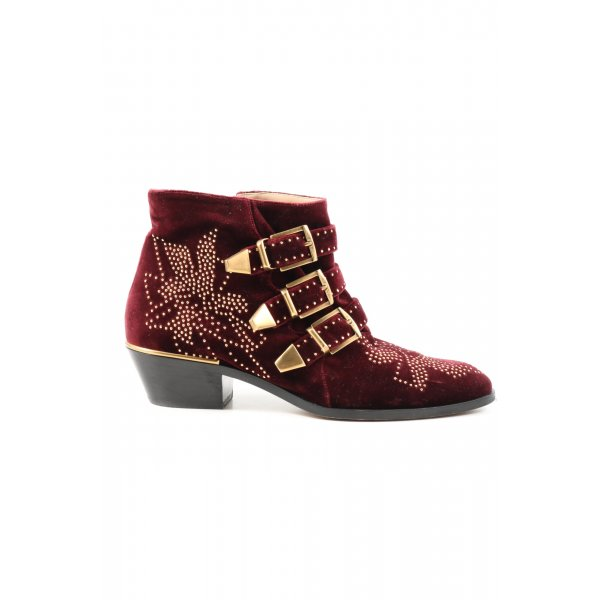 Chloé Ankle Boots rot-goldfarben Casual-Look