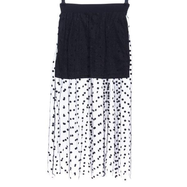 Choies Midirock weiß-schwarz Punktemuster Elegant