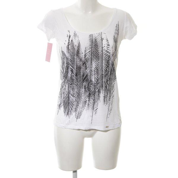 Cinque T-Shirt weiß abstraktes Muster schlichter Stil