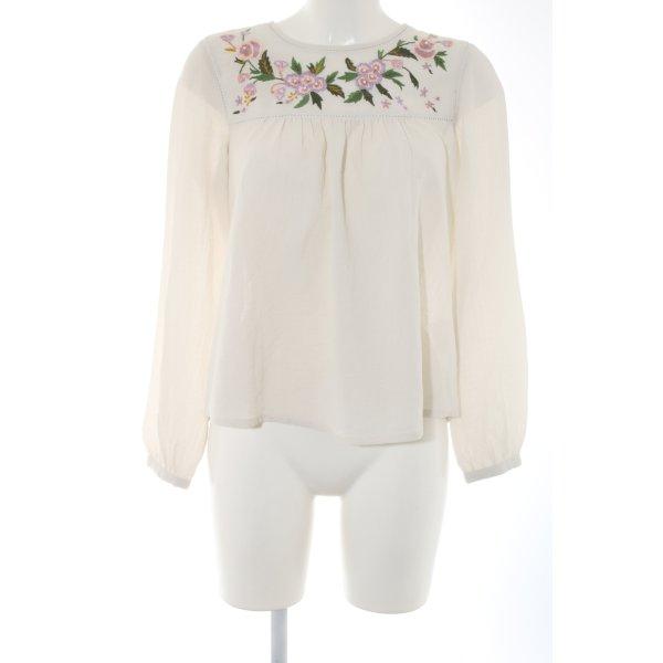 Clockhouse Schlupf-Bluse wollweiß-pink Blumenmuster Elegant