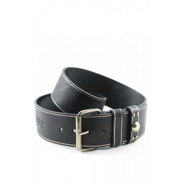 Closed Leather Belt black-gold-colored extravagant style