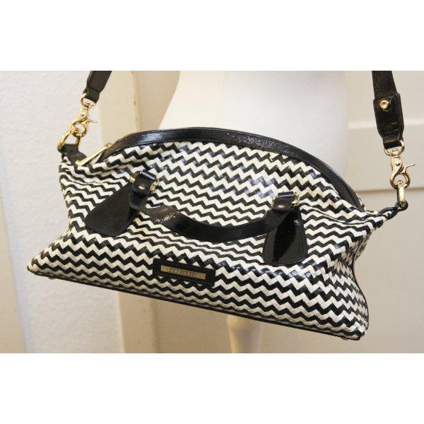 COCCINELLE Handtasche schwarz weiss Zick Zack Muster, ähnlich wie Hahnentritt