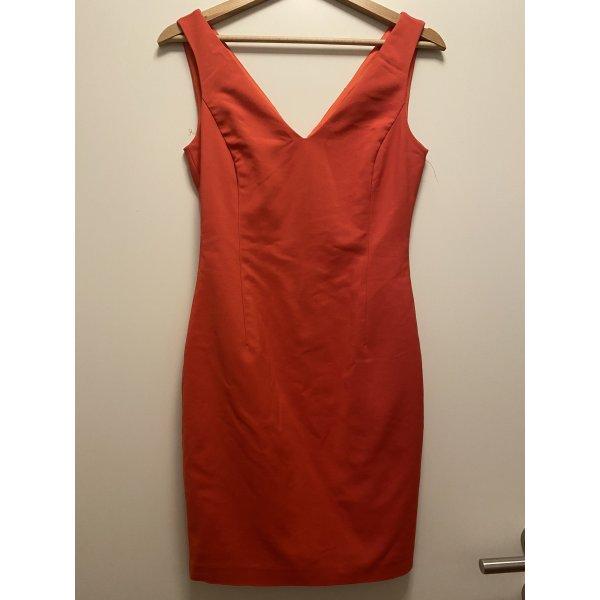 Cocktailkleid / Partykleid mit V Ausschnitt in einem hellen rot Ton