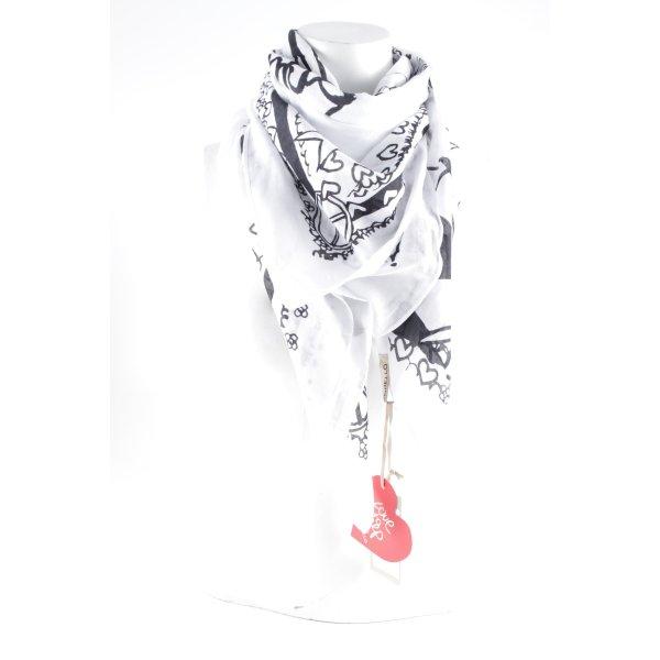 Codello Halstuch weiß-schwarz Herzmuster Casual-Look