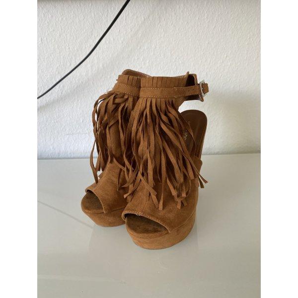 Cognac/Braune/Camel Plateau Blockabsatz Schuhe Boohoo Stil