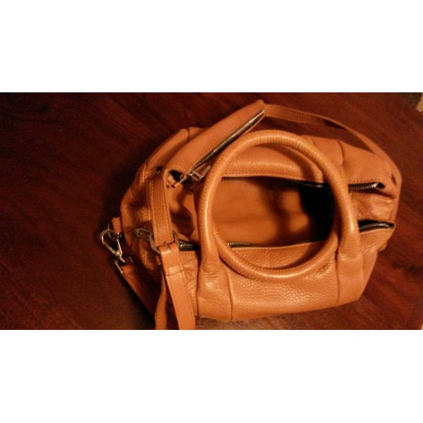 Zara Sac Baril orange foncé-argenté cuir