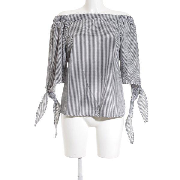 Colloseum Carmen-Bluse weiß-schwarz Karomuster minimalistischer Stil