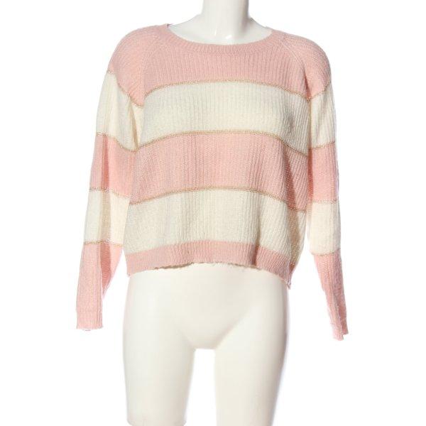 Colloseum Rundhalspullover pink-weiß Streifenmuster Casual-Look