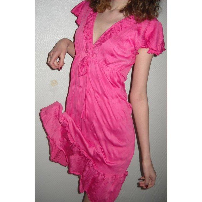 Colour Blocking Schnürung Party Cocktail Abend Kleid Tunika h m pink 34 36 XS S