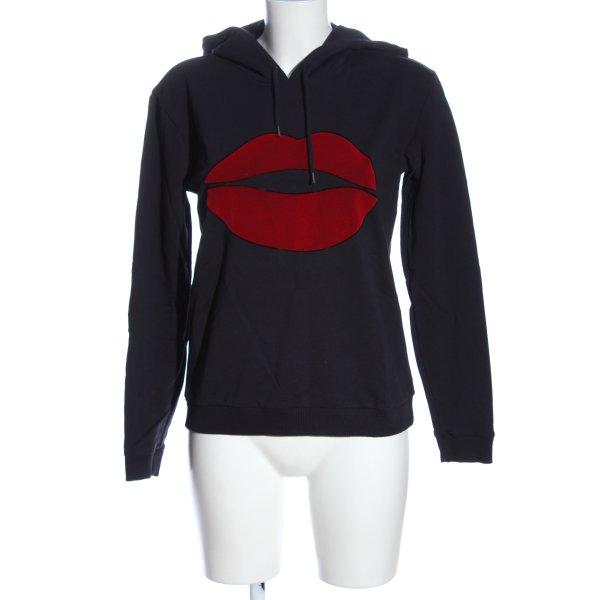 Comma Kapuzensweatshirt schwarz-rot Motivdruck Casual-Look