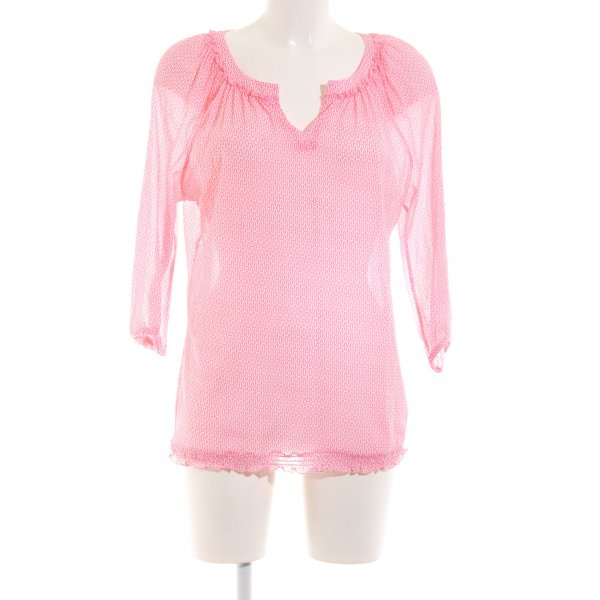 Comma Kurzarm-Bluse pink-weiß grafisches Muster Casual-Look