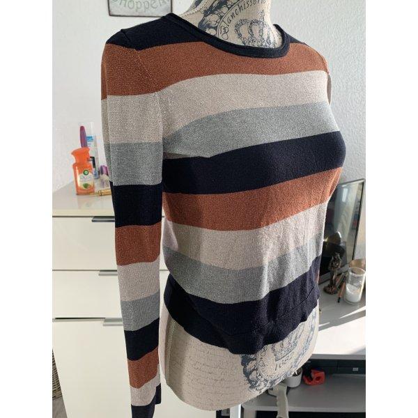 Comma Pulli/Sweater - Gestreift - Glitter - Black/Brown/Beige - Größe 34 XS/S