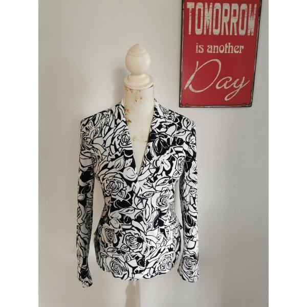Concept UK Damen Blazer Blumenmuster Jacket schwarz weiß Größe 36