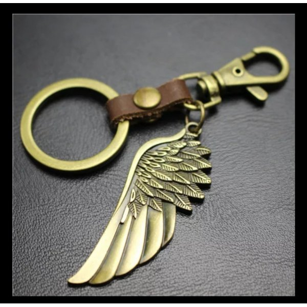 Cooler Schlüsselanhänger goldener Flügel, Engel aus Metall und  braun *NEU*