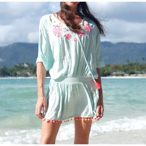 Cover up Strand Tunika  Kaftan Kleid Ibiza Boho Bohemian