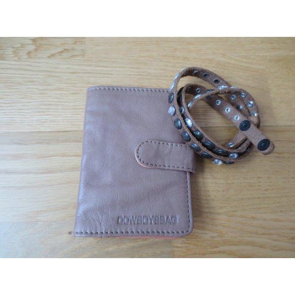 Cowboy Geldbörse und Armband, Leder, beige, neuwertig