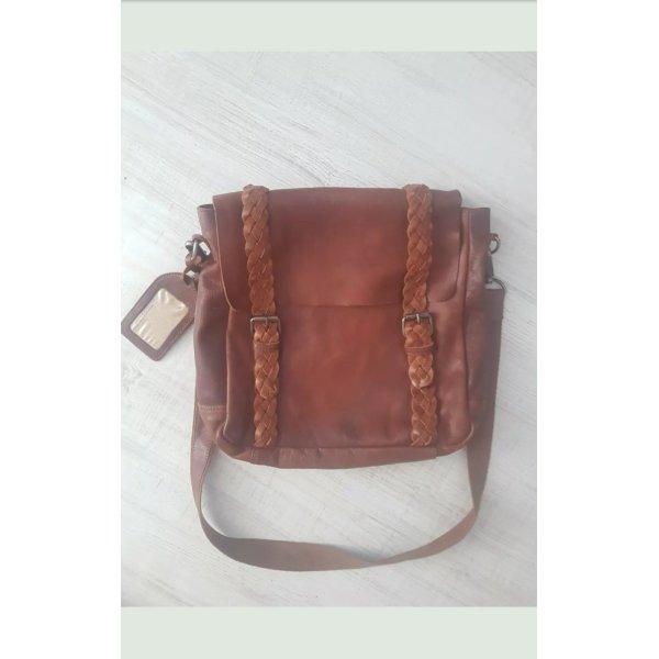 Cowboysbag Ledertasche - Vintage Schultertasche - Umhängetasche - Handtasche geflochten Cognac %SALE%