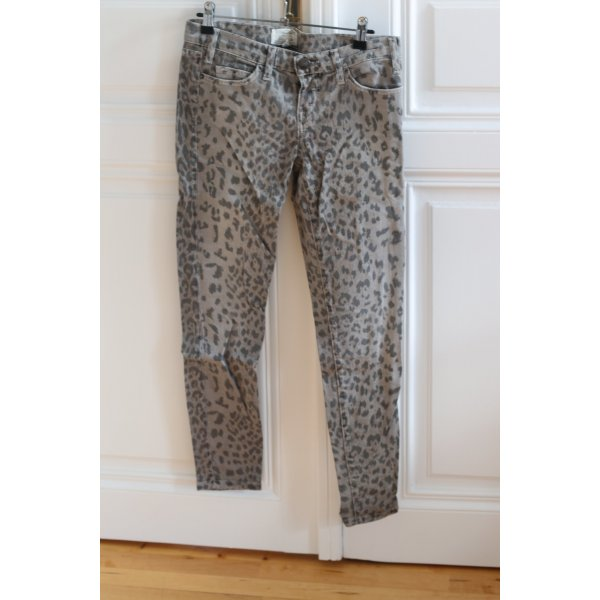Current Elliot graue Leopard-print Jeans
