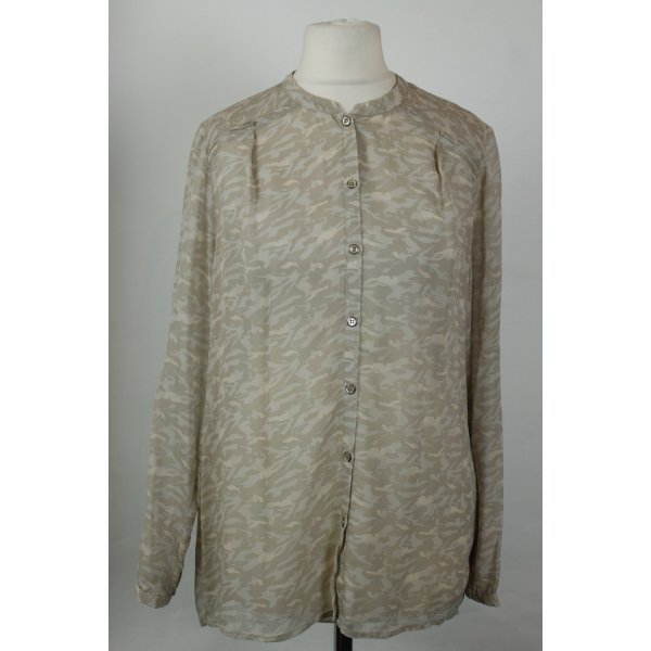 Custommade Bluse Seidenbluse Gr. 38 beige grau
