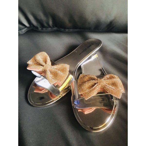 Damen Gold Pantoffel Sandalen Schuhe Bow Schleife 40
