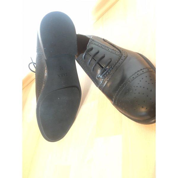 Zara Wingtip Shoes black leather