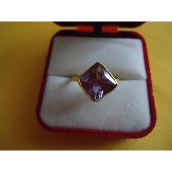 Damenring Amethyst silber vergoldet
