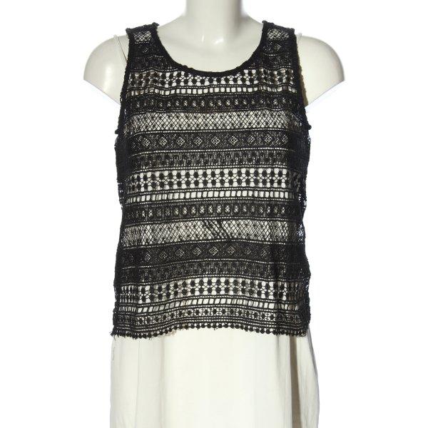 Daphnea Häkeltop schwarz-weiß grafisches Muster Casual-Look