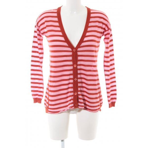 Dear Cashmere Strickjacke pink-rot Streifenmuster Casual-Look
