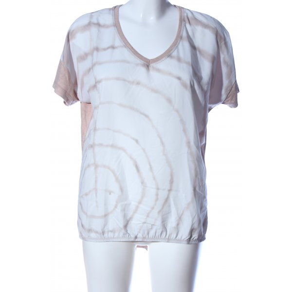 Decay Women Kurzarm-Bluse creme-weiß abstraktes Muster Casual-Look