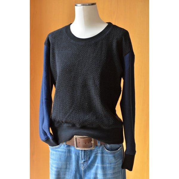 DENHAM Sweater Pulli Fischgrätmuster Blau Schwarz S 36/38 Sweatshirt