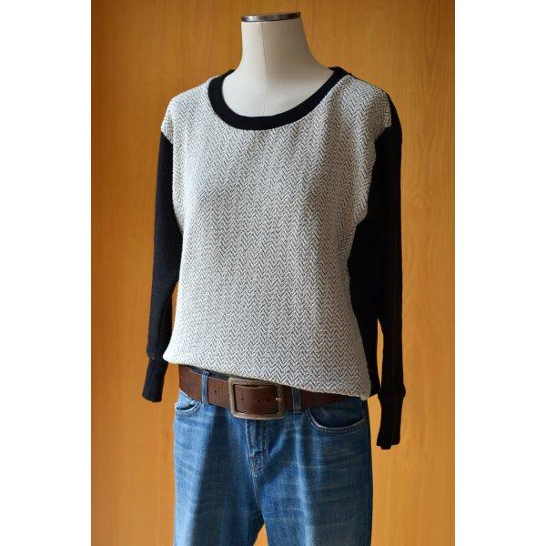 DENHAM Sweater Pulli Fischgrätmuster Creme Schwarz S 36/38 Pullover Sweatshirt Etikett